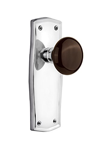 Nostalgic Warehouse Prairie Plate with Brown Porcelain Knob, Double Dummy, Bright Chrome