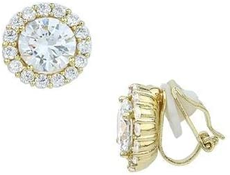 Classy Halo Cubic Zirconia Gold Round Clip On Earrings, 12 mm