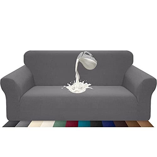 Luxurlife Funda de sofá Impermeable 3 Plazas Funda para Sofá Elástica Antideslizante Protector de Muebles Patrón para Sala de Estar(3 Plazas,Gris Claro)