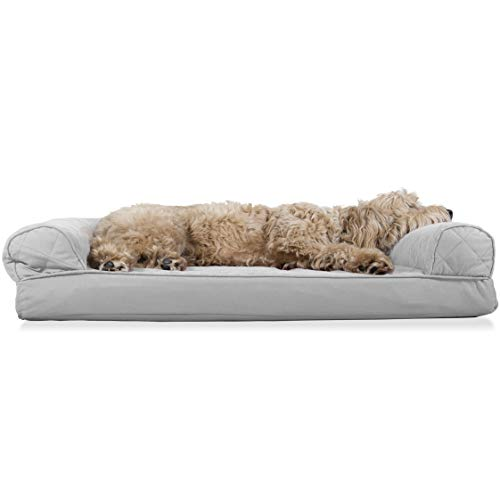 Furhaven Pet Dog Bed - Orthopedic Quilted Traditional Sofa-Style Living Room Couch Pet Bed with Removable Cover for Dogs and Cats, Silver Gray, Large