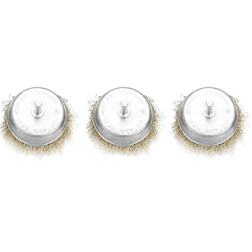 3PCS Wire Wheel 75mm Rotating Wire Brush 6mm Round Rod Wire Cutting Brush for Metal, Rust Corrosion Paint Removal