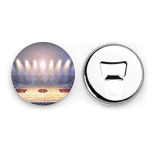 Abrebotellas redondas de baloncesto Arena / Imanes de nevera Sacacorchos de acero inoxidable Etiqueta magnética 2 piezas