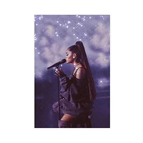 Poster sur toile Singer Ariana Grande - Décoration murale - Pour salon, chambre à coucher - 30 x 45 cm - Sans cadre : 1