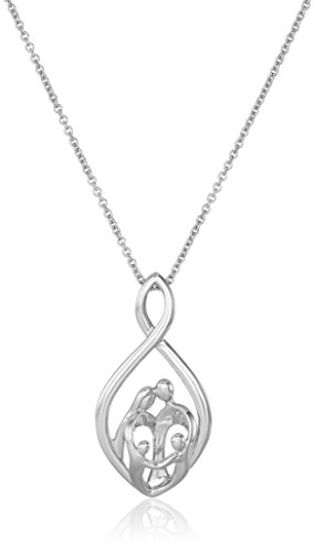 Amazon Collection Sterling Silver Family Infinity Pendant Necklace, 18'