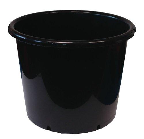 Plant it 10litros Redonda Maceta de plástico–Negro, Negro