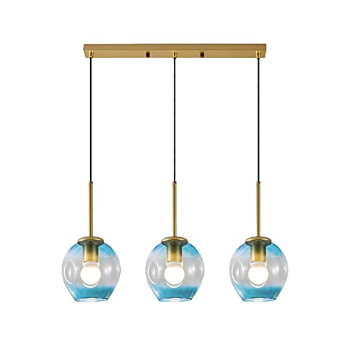 YQG Lámpara Colgante de 3 Luces, lámpara Colgante de Vidrio y Metal Dorado, luz de Techo E27 Moderna nórdica para Sala de Estar Tipo Loft (Recta, Azul Degradado)