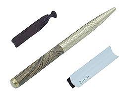 Kugelschreiber aus Tiger Holz und Messing (hygienisch da antimikrobielle Eigenschaften) - Edel und Perfektes Premium Geschenk - Stift in Samt Etui und in Geschenk Schachtel - Blauschreibend (Arabico)