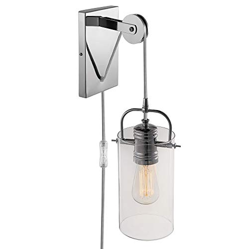 Globe Electric Nordhaven 1-Light Plug-In or Hardwire Wall Sconce, Chrome Finish, Pulley Accent 65946