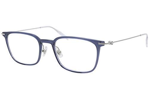 Mont Blanc Brille (MB-0100-O 004) Acetate Kunststoff - Metall blau kristall - silber