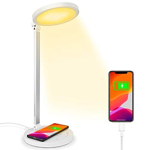 Lampada da Scrivania LED con Ricarica Wireless Porta di USB Lampada da Tavolo con Funzione di Protezione...