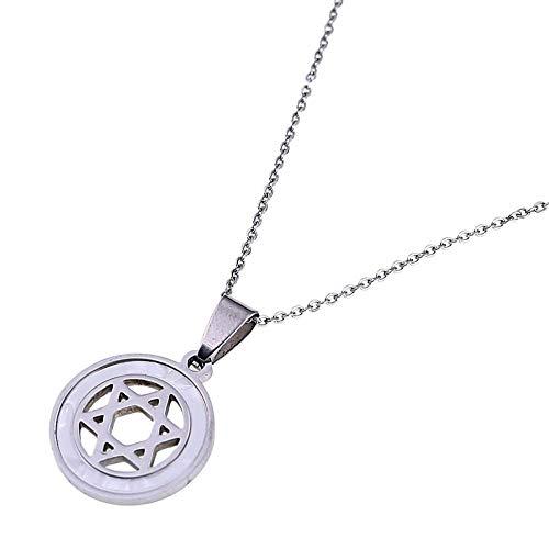 YHHZW Collar Collares Pendientes De Hexagrama De Estrella De Israel De Acero Inoxidable Joyería De Estrella Judía