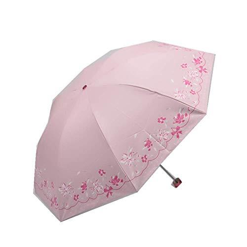 YNHNI Paraguas Plegables Triple Plegable sombrilla sombrilla protección Sol Lluvia y Sol Refuerzo de 8 Huesos,Portátil (Color : Pink)