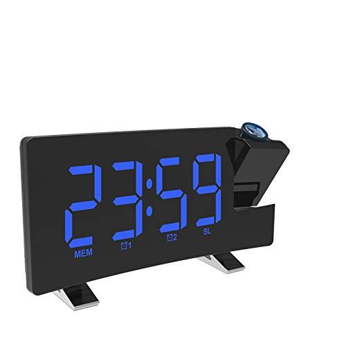 Ahageek Reloj Despertador de proyección, Reloj de Pared de Techo Proyector Digital Radio FM Pantalla Curva Reloj Despertador Digital LED con Puerto de Carga USB
