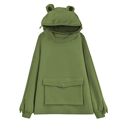 DANWAN Frosch Hoodie Mädchen Stitching Dreidimensional Cute Design Pullover Sweatshirt Kreative Stickerei Dreidimensionale Niedliche Kopfbedeckung Sweatshirt(A-Grün,M)