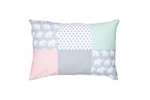 ULLENBOOM ® kussensloop voor kussens voor baby's l 40x60 cm l met ritssluiting l hoes ook geschikt voor sierkussens I olifant mint roze