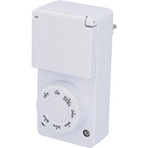 UNITEC Zeitschaltuhr mit Countdown-Funktion für den Außenbereich | IP 44 | Kindersicherung | Dämmerungsfunktion | weiß