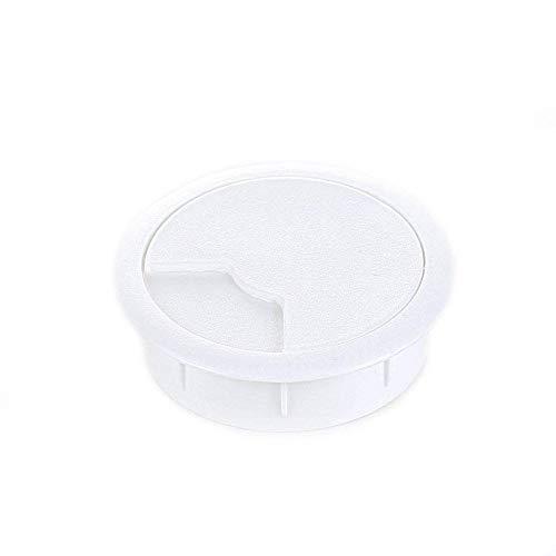 Sossai Kabeldurchführung (8 Stück) / Kabeldurchlass/Schreibtischkanal für Schreibtische, Büro & Arbeitsplatten KDM2-60 | Farbe: Weiß | Durchmesser: 60 mm | Material: Kunststoff