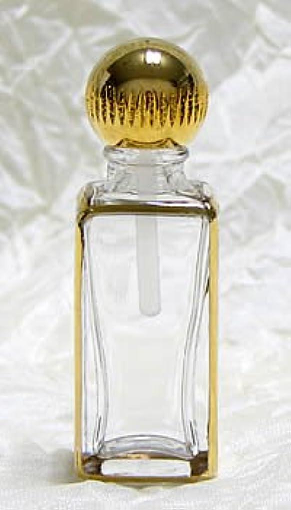 薄暗いまた明日ね留め金パースパフュームボトル スクエア 手描き ゴールド