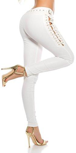 Koucla Extravagante Lederlook Hose - Wetlook Pants Skinny mit Schnürung Leggings Schwarz Weiß Beige Rot Gr. S - XL (XL, Weiss)