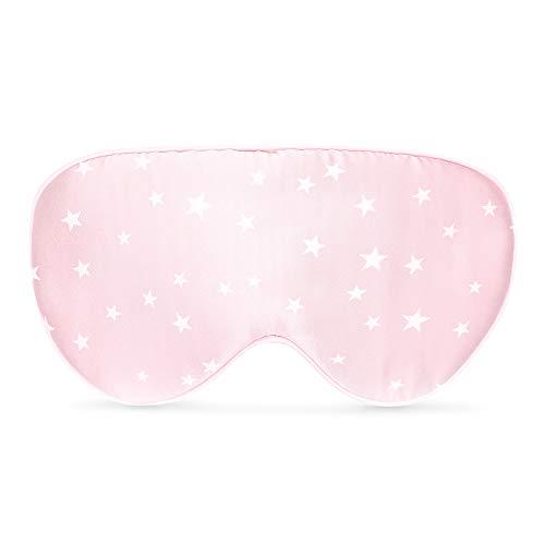 Navaris Antifaz para Dormir de Seda - Máscara de Ojos para Viaje y meditación - Unisex Ajustable y 100% Oscura - Incluye Bolsa - Motivo de Estrellas