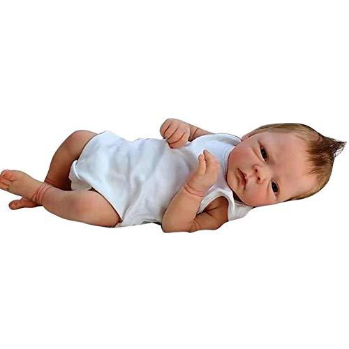 DHFD Corpo in Silicone Reborn Bambole Occhi, Reale Bambole Quello, Reborn Baby, Bambola Realistica Realistica Realistica in Silicone, con Tutina Bianca per Bambini, 46cm