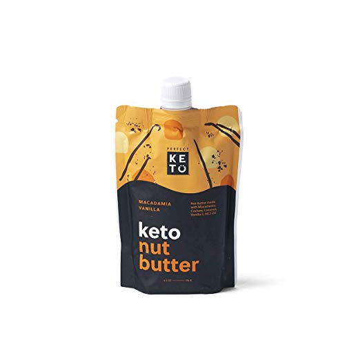 Perfect Keto Nut Butter Snack: Support Weight Management on Ketogenic Diet. Ketosis Superfood Raw Nuts Cashew Macadamia Coconut Vanilla Sea Salt
