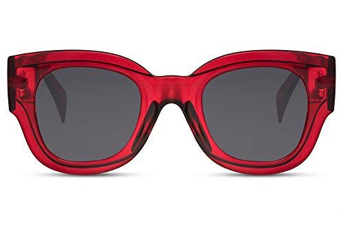 Cheapass Occhiali da Sole Grandi Montatura Rossa Trasparante di Moda da Donna