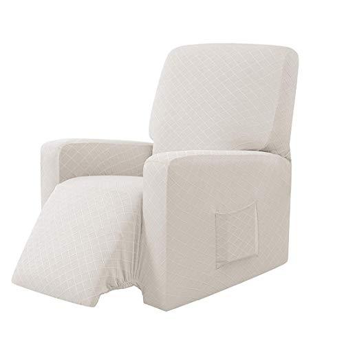 E EBETA Sessel-Überwürfe Sesselschoner, Stretchhusse für Relaxsessel Komplett, Schutzhülle aus elastischem Sessel Ohrensessel (Weiß)