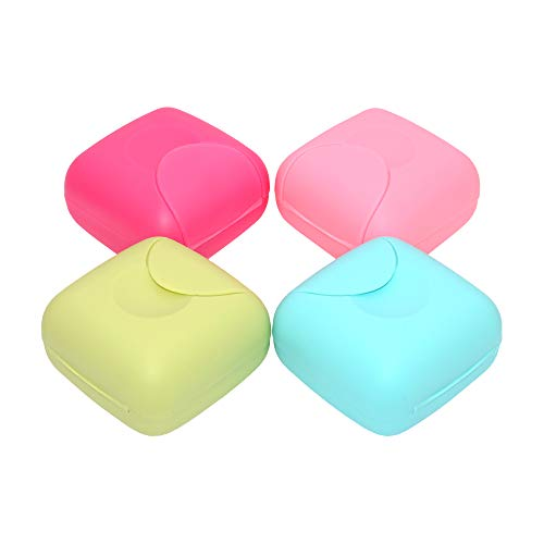 SITAKE 4 Pcs Portable Soap Box Holder, Candy Color Soap Case Container for Home, Bathroom, Travel, Outdoor Hiking, Camping, Gym, Vacation (4 Small)