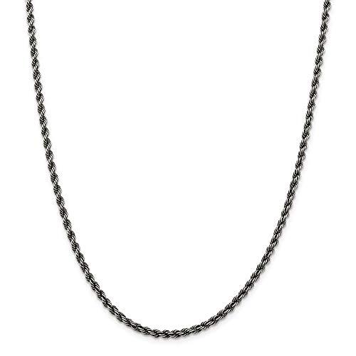 Pulsera de plata de ley 925 con chapado de rutenio trenzado con cierre de langosta de rutenio de 3 mm, joyería de regalo para mujer – 20 centímetros