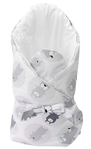 Vizaro - Arrullo - Manta - Mantita Envolvente Bebé - Acolchado - Muy Suave - 100% Algodón - Hecho UE, OekoTex - Ositos
