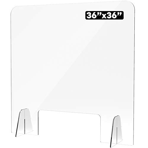 Shield Geek Premium Sneeze Guard for Counter - Freestanding Plexiglass Shield with Larger Opening at the Bottom - Crystal Clear Acrylic - for Counters, Restaurants, Businesses (1, 36' wide x 36' wide)