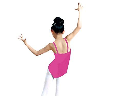 J&E-Maillots - Body da danza, elasticizzato, modello classico per bambine fucsia 10-12 anni