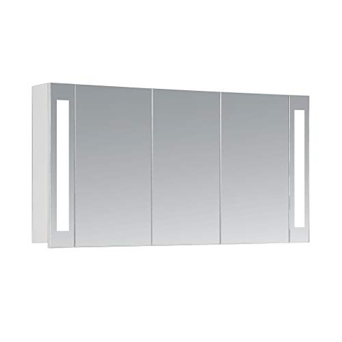 HAPA Design Spiegelschrank Venedig weiß mit LED Beleuchtung 12W 4000K, VDE Steckdose, Softclose Funktion und verstellbaren Glas Ablagen. Komplett vormontiert. SGS geprüft. (120 x 60 x 14 cm)