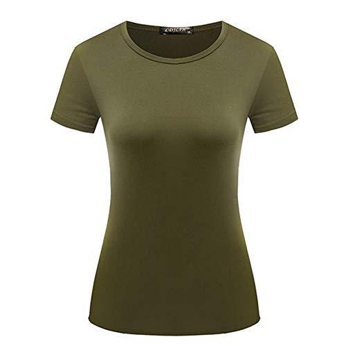 SLYZ Verano Gran Tamaño para Mujer Delgada Mañana Corriendo Ropa De Secado Rápido para Correr La Camiseta Casual Holgada De Todo Fósforo