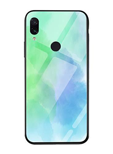 Oihxse Colorido Gradual Cristal Estilo Case Compatible con Xiaomi Mi MAX 3 Funda Vidrio Templado Trasera Carcasa Borde de Silicona Suave Protectora Ultra Fino Anti-arañazos