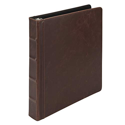 Samsill Vintage Hardback 3 Ring Binder, Professional Binder Organizer, Planner, 1 Inch Rings, Letter Size 8 1/2 x 11 Inch, No Zipper, Brown