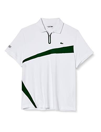 Lacoste DH2072 Camisa de Polo, Blanco/Verde, XL para Hombre
