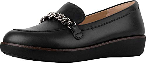 FitFlop Women's Paige Chain Loafer Flat, Black, 8 M US