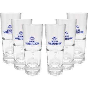 Wodka Gorbatschow Vodka Longdrink Gläser-Set - 6x Gläser 2/4cl geeicht