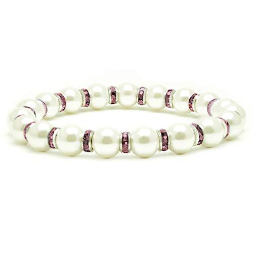 Sweetop - Pulsera de perlas de imitación blancas de hematita magnética para mujer, pulsera de piedra natural de 7,5 pulgadas, joyas hechas a mano con cuentas para mujeres y niñas