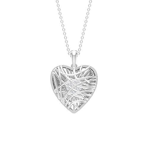 Colgante de corazón, collar de diamante HI-SI, colgante de dos tonos, collar con colgante de oro blanco