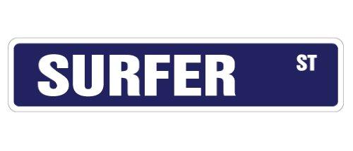 "SURFER Street Sign surf board shorts bathing suit   Indoor/Outdoor   18"" Wide Plastic Sign"