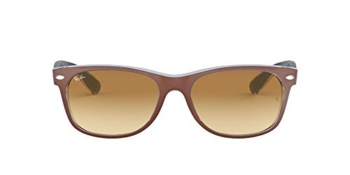 Ray-Ban RB2132 New Wayfarer Sunglasses, Matte Brown On Blue/Brown Gradient, 55 mm