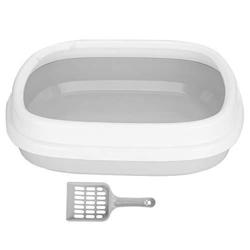 Boîte à Litière pour Chat, Boîte à Litière pour Chat en Plastique Semi-fermée étanche Anti-éclaboussures à la Maison avec Pelle Portable Voyage en Plein Air Chaton Toilette Accessoires(gris)