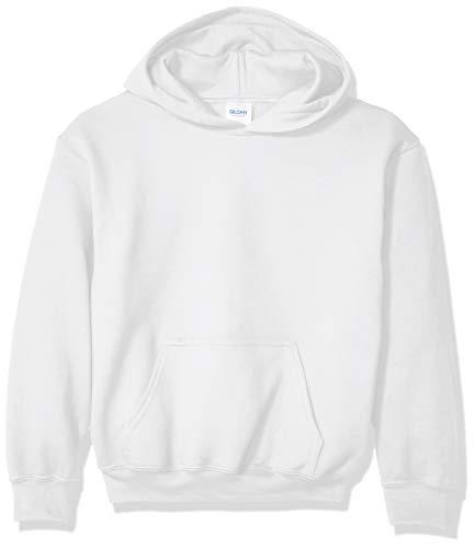 Gildan unisex child Youth Hooded Sweatshirt, White, Small US