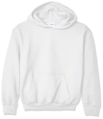 Gildan Kids' Big Hooded Youth Sweatshirt, White, Large
