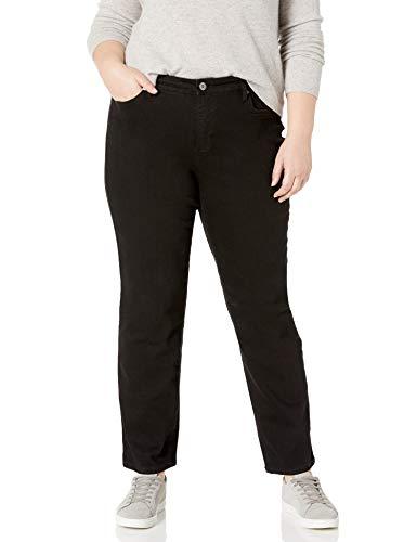 Bandolino Women's Plus Size Mandie 5 Pocket Jean, Saturated Black, 18W Short