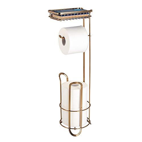 mDesign Toilettenpapierhalter ohne Bohren – Klorollenhalter fürs Badezimmer mit Ablage für Feuchttücher, Magazine etc. - zeitloser Papierrollenhalter aus Metall – messingfarben