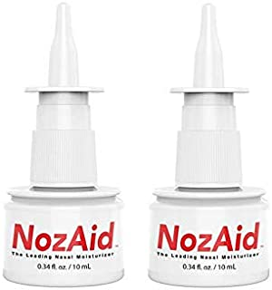 Nasal Moisturizer Spray (2 Pack) w/Sesame Oil .34 Oz - Moisturizing Lubricant for Dry, Crusty, Cracked, Stuffy Nose Relief, Nosebleeds, Clear Breathing - Fragrance and Preservative Free by NozAid (2)
